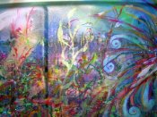 """ART Experiment 2"" acrylic on car part."