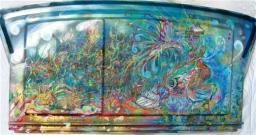 """""""Zoo Ocean"""" acrylic on car part."""