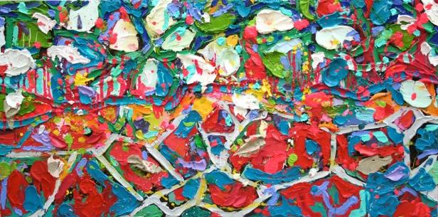 """In Rainbows"" (Oil on masonite panel 24""x48"") (c) Dominique Ovalle 2008"