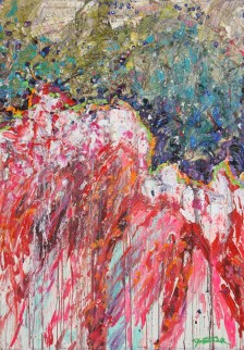 """Dialogue Between Fear and Beauty"" (Oil on wood panel) 48""x60"" (c) Dominique Ovalle 2009"