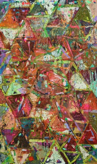 """Triangle Painting"" (Oil on wood panel, 30""x 60"") (c)2009 Dominique Ovalle"