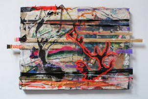 """Reef Fight,"" 36""x 60"" Mixed Media on Canvas, December, 2009"