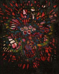 """Flower"" Oil, glitter, on canvas. 30""x24"" 2010"
