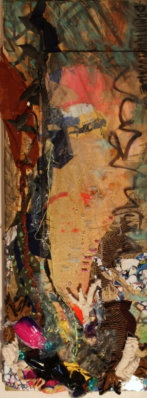 """Dive"" (16"" x 43"") Zarape fabric, plexi-glass, Thai silk, Indian leather, photographs, plastic bags, t-shirt, tin can altered by Chris Sorensen, string, Pilot fattie marker. 2010"