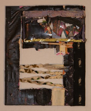 """Burnt"" (16""x 20"") Burned skateboard deck, business cards, cloth, license plate holder, feathers, foam on canvas. 2009"