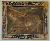 """""""Nylon Holds All the Shit Back"""" (25.5""""x 21"""") Mixed media on canvas. 2009"""