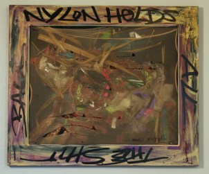 """Nylon Holds All the Shit Back"" (25.5""x 21"") Mixed media on canvas. 2009"
