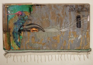 """Burn Your Dreams"" (19""x36"") Mixed media on Wood, 2009"