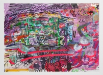 """""""Juice Stand Calcutta"""" Mixed Media on Paper, 15""""x18"""" July, 2009"""