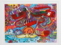 """""""Lovedeep The Ocean"""" Acrylic, pen on paper, July, 2009"""