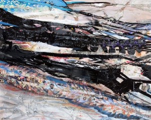 """River"" (48""x 60"") Mixed Media on Canvas, August, 2009, In the Collection of Anne Z. of New York"