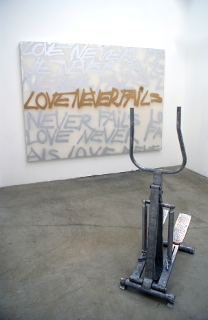 """""""Risk"""" 2011 (Installation materials: gold leaf, embossed stair-stepper, spray-can on canvas.)"""