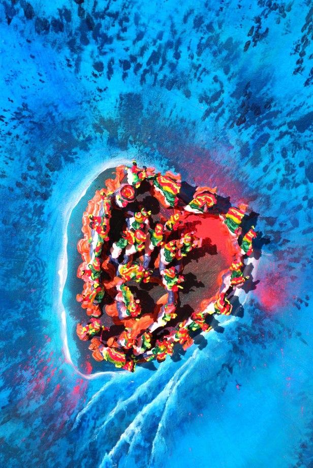 "Last Voyage of The Rainbow Warrior48"" x 60""Acrylic Mixed Media on Canvas 2015 (Detail Shot)"