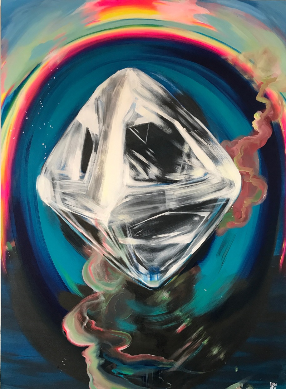 """Rough Diamond"" Acrylic on Canvas H 60"" x W 48"" x D 1.5"" 2017 By: DOMKO $2900"
