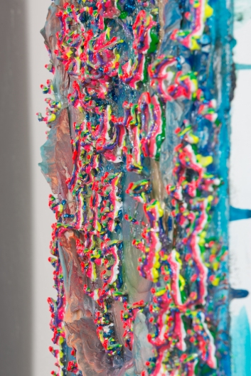 """Glutton's Trench,"" Acrylic, glass, rocks, fired porcelain, glitter, gel medium, acrylic polymer, puff paint on canvas. 29.4""x 21.5"" x4"""