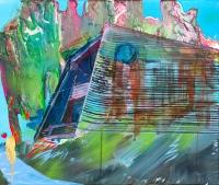 """Pajaro Beach House 2 (Apparition) Acrylic on canvas, 20""""x 23.75"""", 2014 ($200)"""
