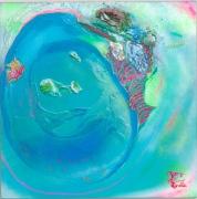 """Pony Island"" Acrylic, plastic rocks, puff paint, gel medium, sand, spray can on canvas. (20""x20""x1"") 2013 ($175)"