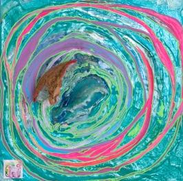 """Spirit of Wavestorm,"" Acrylic polymer, coconut, puff paint, plastic rocks, stickers, patches, gel medium on panel. (12""x 12""x 6"") 2013 ($300)"