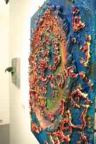"""Glutton's Trench,"" Acrylic, glass, rocks, fired porcelain, glitter, gel medium, acrylic polymer, puff paint on canvas. 29.4""x 21.5"" x4"" ($450)"